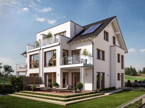 Doppelhaus modern mit Satteldach, dreigeschossig, 7 Zimmer Grundriss, 170 qm - Fertighaus Bien Zenker CELEBRATION 122 V3 XL - HausbauDirekt.de