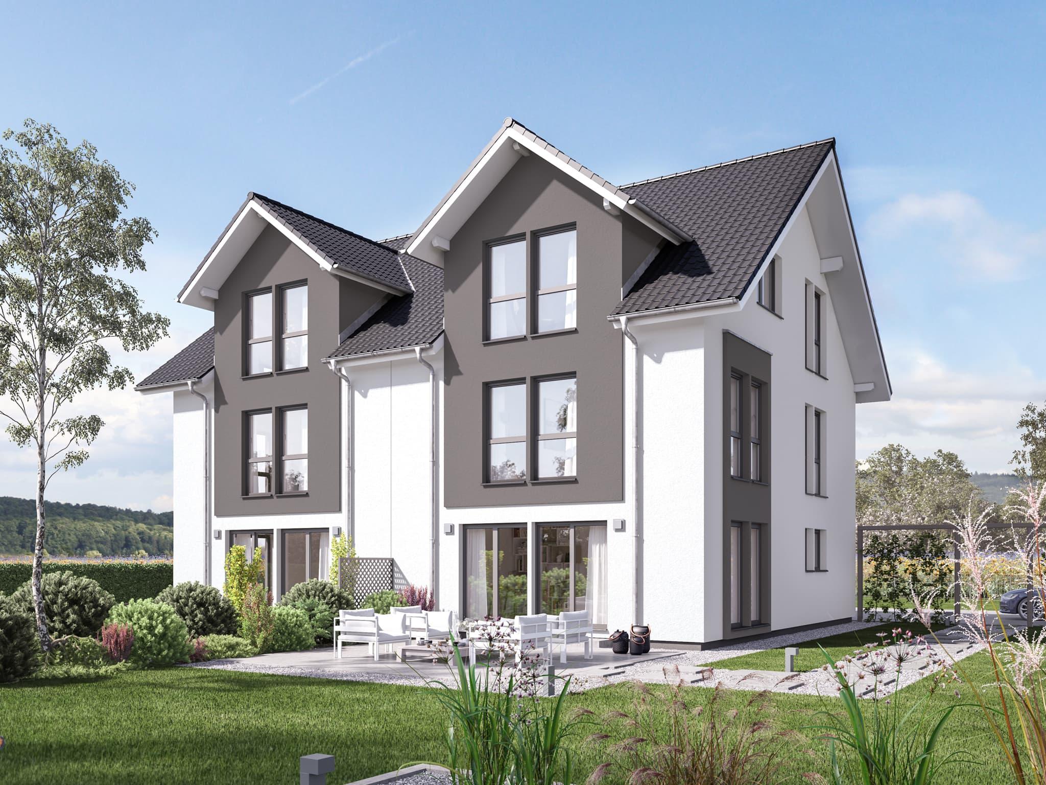Doppelhaus groß mit Satteldach Architektur, 6 Zimmer Grundriss, 195 qm - Fertighaus Bien Zenker CELEBRATION 139 V3 - HausbauDirekt.de