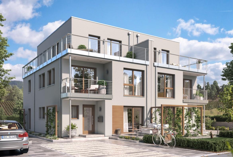 Doppelhaus modern mit Flachdach, Loggia & Balkon - Fertighaus Bien Zenker CELEBRATION 139 V7 - HausbauDirekt.de