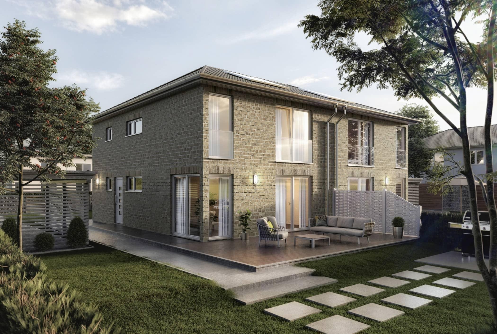 Doppelhaus modern mit Walmdach Architektur & Klinker Fassade grau - Massivhaus schlüsselfertig bauen Ideen Doppelhaushälfte AURA 136 KLINKER Lime line 430 von Town Country Haus - HausbauDirekt.de