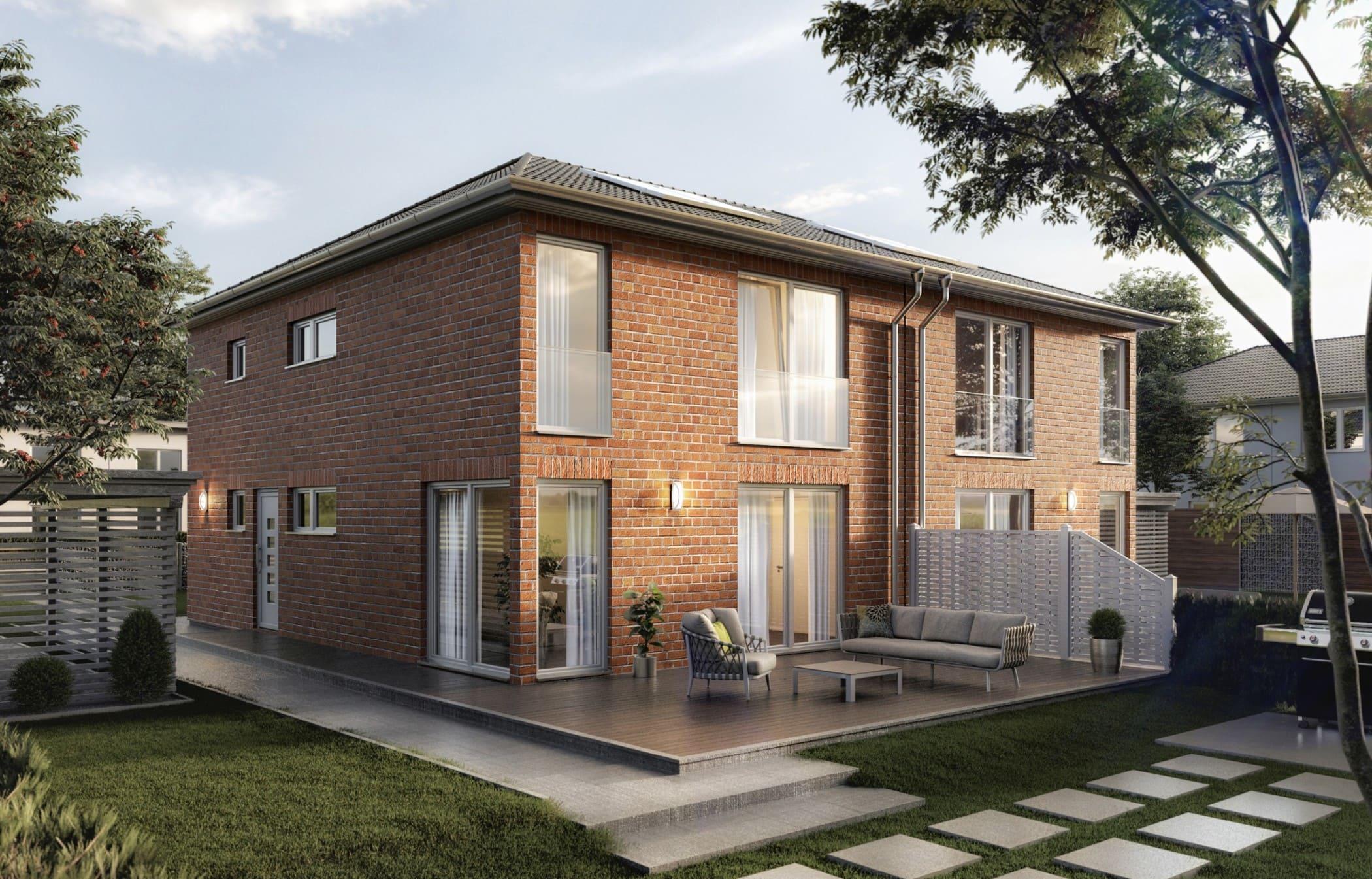 Doppelhaus modern mit Walmdach Architektur - Doppelhaushälfte schlüsselfertig bauen Ideen Town Country Haus AURA 136 KLINKER Fassade Limnaeus Betula - HausbauDirekt.de