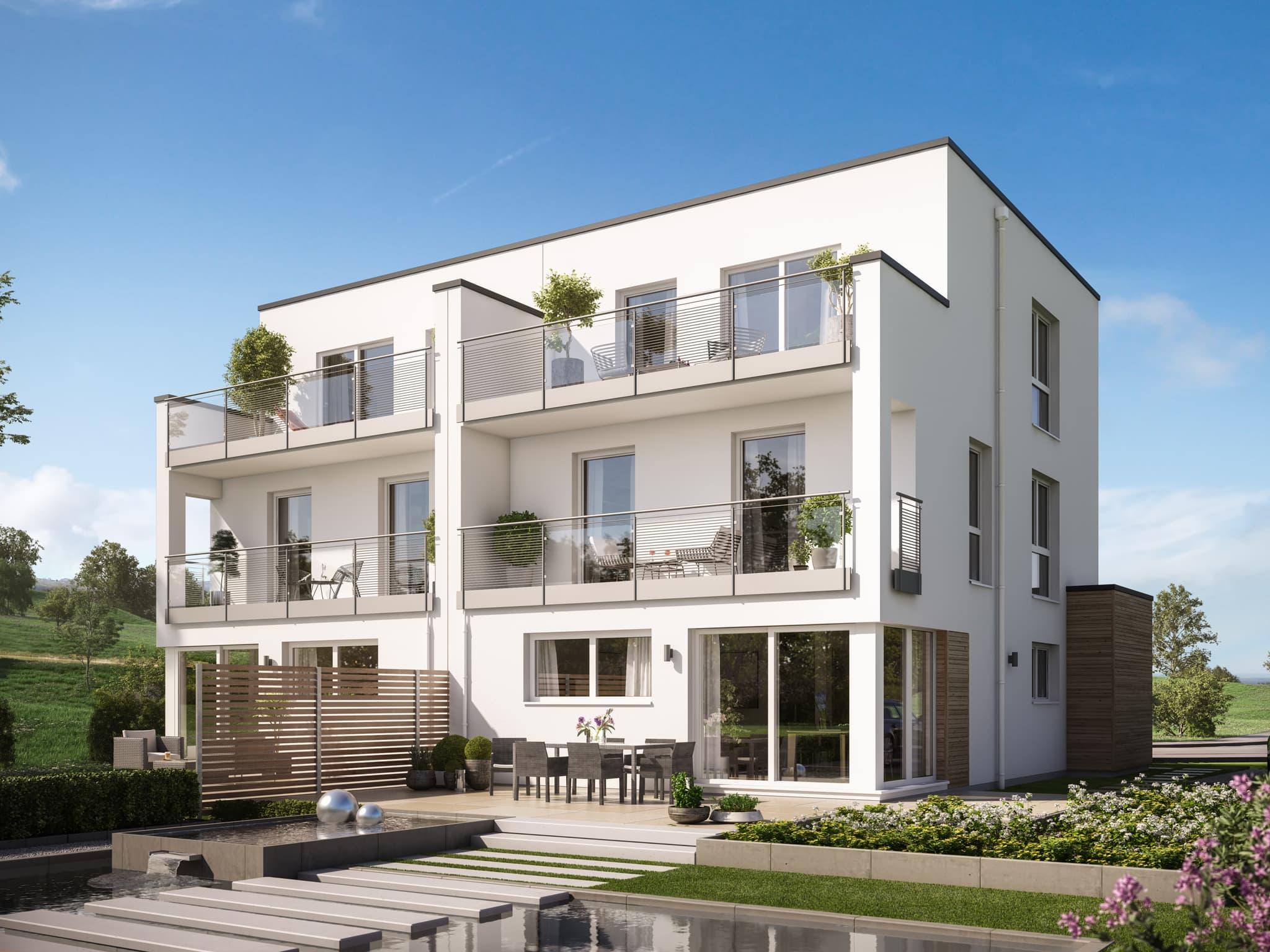 Doppelhaus modern im Bauhausstil mit Flachdach, Erker & Balkon, 5 Zimmer, 166 qm - Fertighaus Bien Zenker CELEBRATION 122 V7 XL - HausbauDirekt.de