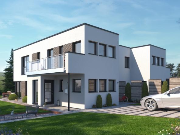 Doppelhaus modern mit Flachdach im Bauhausstil - Fertighaus Bien-Zenker CELEBRATION 139 V6 - HausbauDirekt.de