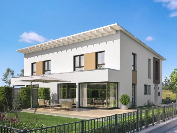 Doppelhaus modern mit Pultdach, 4 Zimmer Grundriss, 140 qm - Fertighaus Bien Zenker CELEBRATION 139 V4 - HausbauDirekt.de
