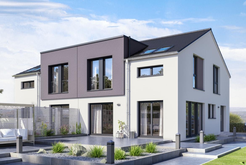 Doppelhaus modern mit Satteldach Architektur, 4 Zimmer Grundriss, 140 qm - Fertighaus Bien-Zenker CELEBRATION 139 V2 - HausbauDirekt.de