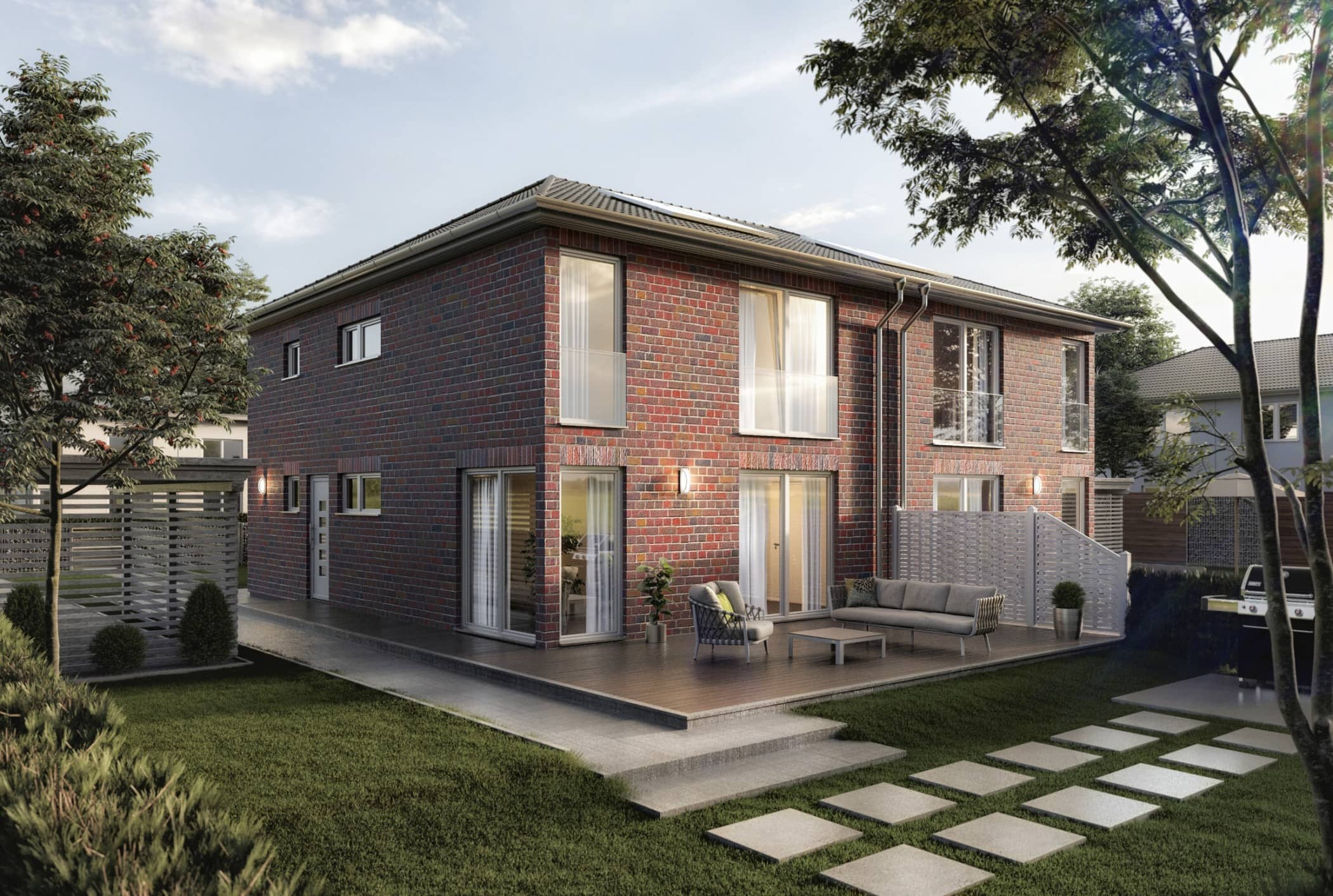 Modernes Doppelhaus schluesselfertig bauen mit Walmdach & Klinker Fassade - Doppelhaushälfte massiv bauen Ideen Town Country Haus AURA 136 KLINKER Hektiek Bunt - HausbauDirekt.de