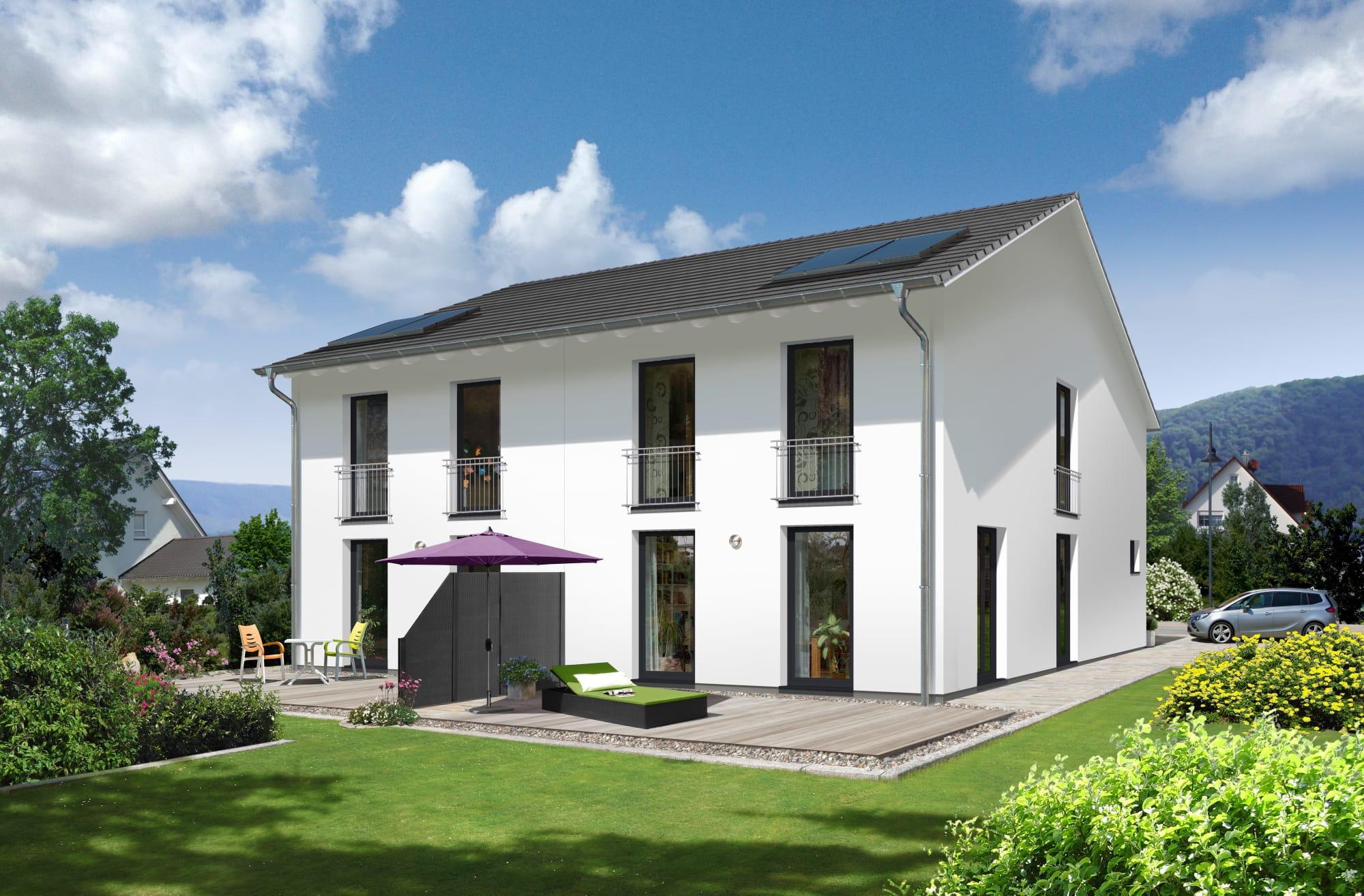 Schmales Doppelhaus mit Satteldach Architektur - Massivhaus schlüsselfertig bauen Ideen Town Country Haus Aura 125 Elegance - HausbauDirekt.de