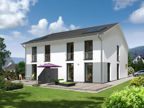 Doppelhaus schmal mit Satteldach - Massivhaus bauen Ideen Town Country Haus Aura 125 Style - HausbauDirekt.de