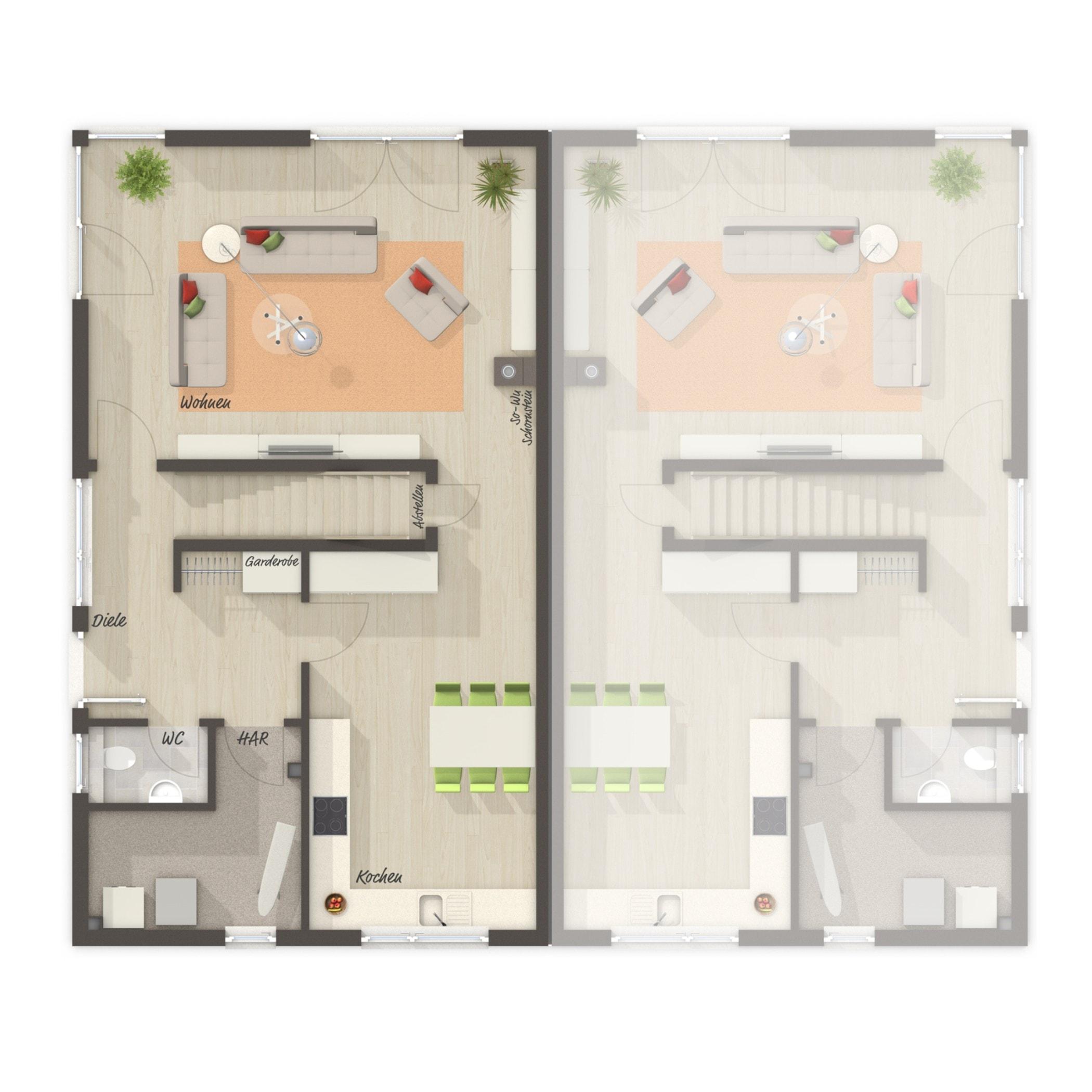 Doppelhaushälfte Grundriss Erdgeschoss - Massivhaus schlüsselfertig bauen Idden Doppelhaus AURA 136 von Town Country Haus - HausbauDirekt.de