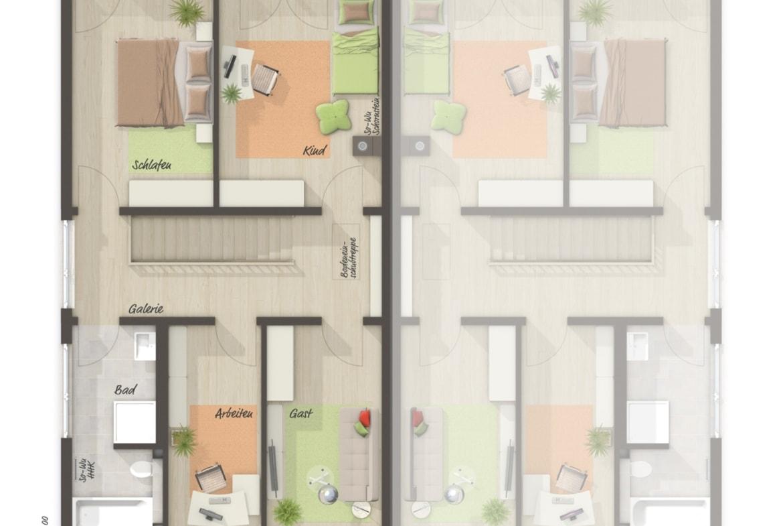Doppelhaushälfte Grundriss Obergeschoss zusätzliches Zimmer - Massivhaus schlüsselfertig bauen Idden Doppelhaus AURA 136 von Town Country Haus - HausbauDirekt.de