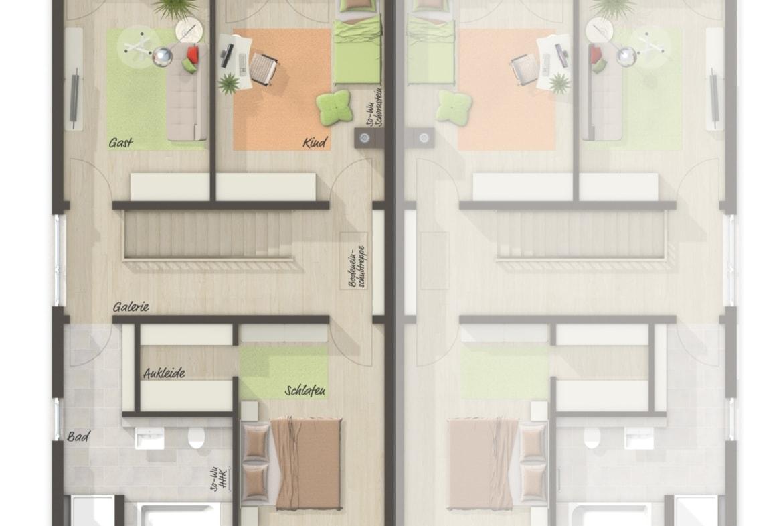 Doppelhaushälfte Grundriss Obergeschoss - Massivhaus schlüsselfertig bauen Idden Doppelhaus AURA 136 von Town Country Haus - HausbauDirekt.de