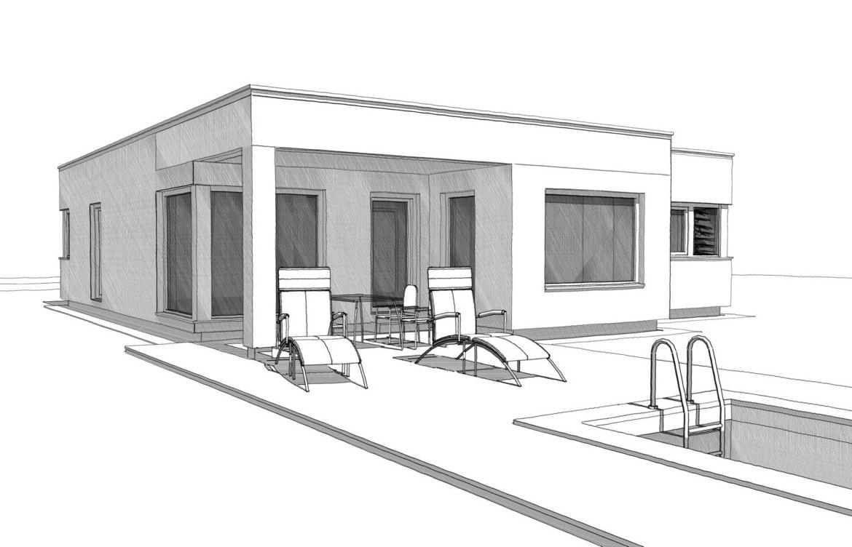 Bauhaus Bungalow mit Flachdach, Erker und Pool Terrasse - Architektur Zeichnung Haus ebenerdig bauen Ideen ELK Fertighaus Bungalow 125 - HausbauDirekt.de