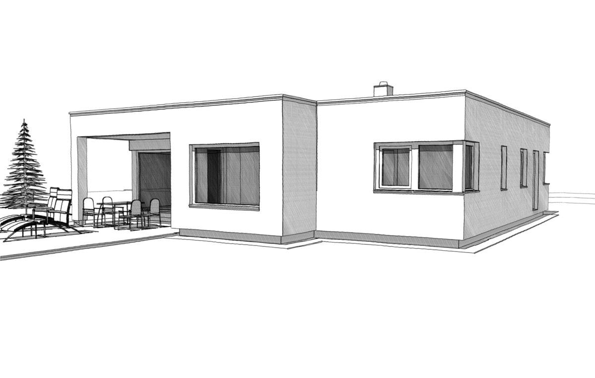 Bungalow Haus im Bauhausstil mit Flachdach und Erker - Architektur Zeichnung Haus Ideen ELK Fertighaus Bungalow 125 - HausbauDirekt.de