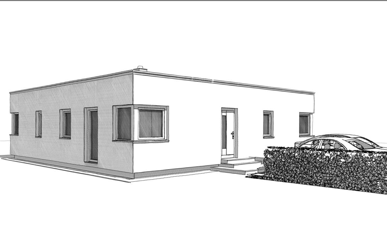 Fertighaus Bungalow im Bauhausstil mit Flachdach, 3 Zimmer, 150 qm - Architektur Zeichnung Ideen ELK Haus Bungalow 125 - HausbauDirekt.de