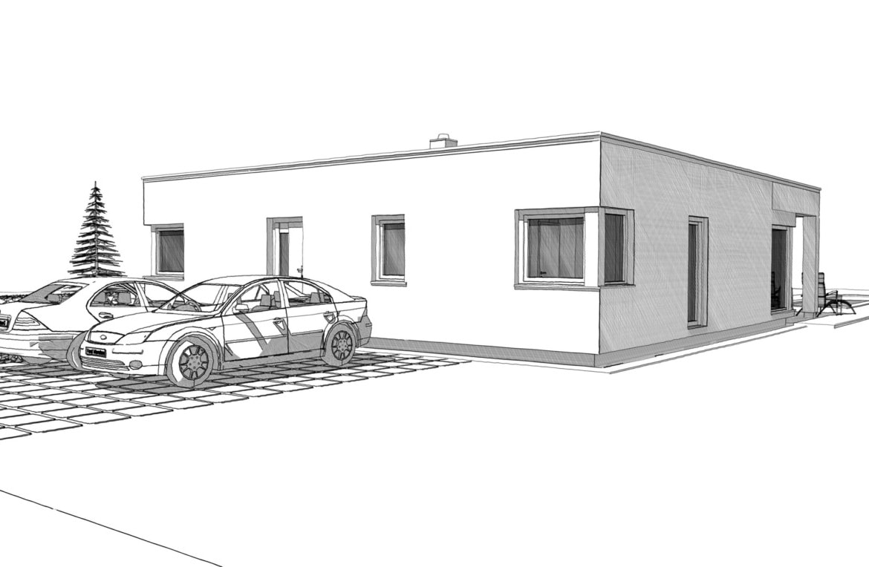 Fertighaus Bungalow modern mit Flachdach, 3 Zimmer, 150 qm - Architektur Zeichnung Ideen ELK Haus Bungalow 125 - HausbauDirekt.de