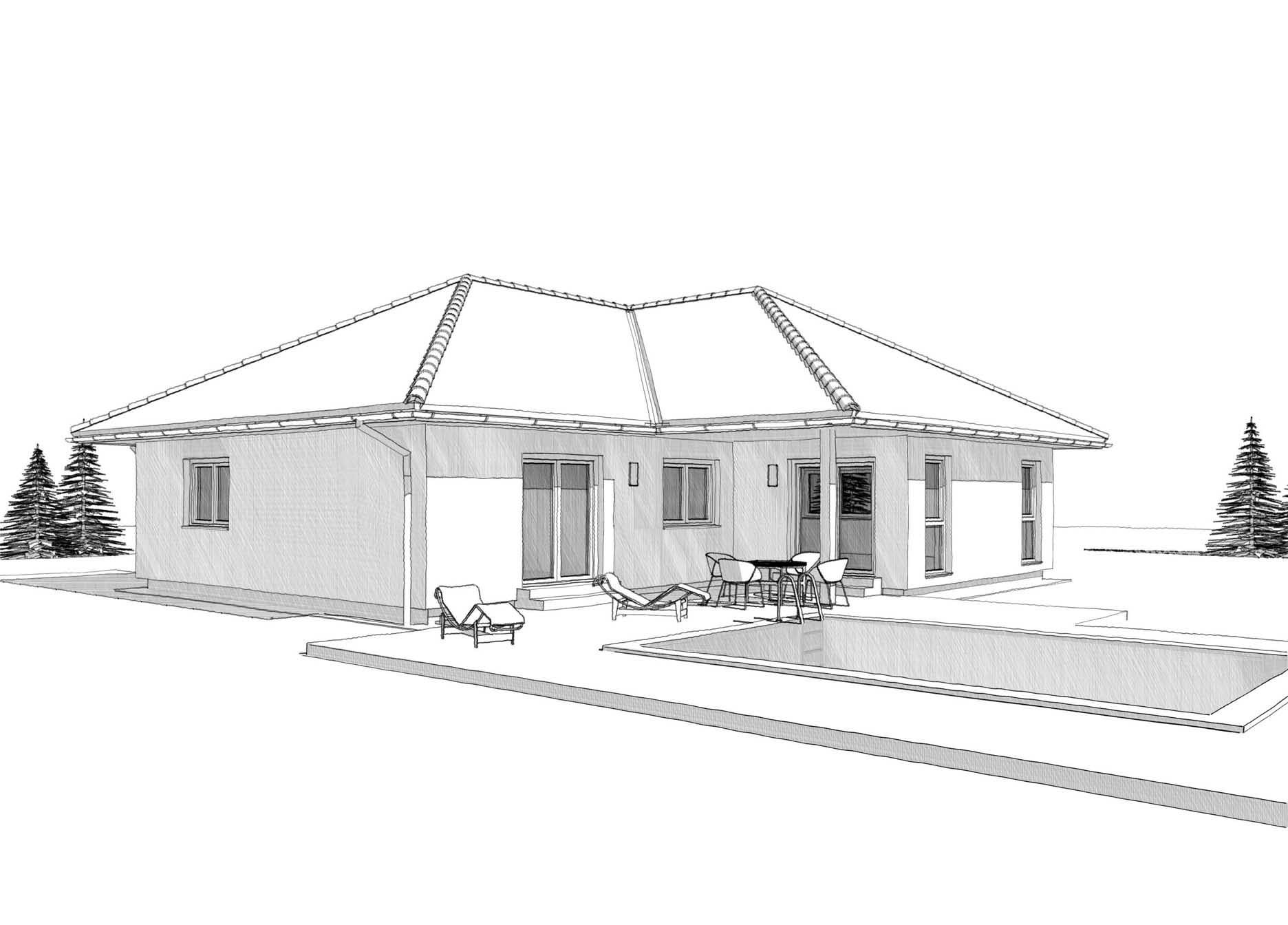 Winkelbungalow mit Walmdach bauen - Haus Design Ideen Skizze ELK Fertighaus Bungalow 132 Walmdach - HausbauDirekt.de