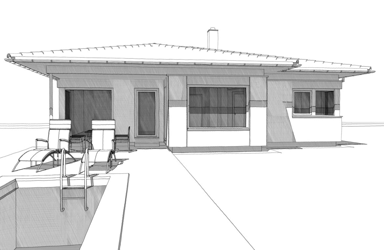 Fertighaus Bungalow mit Walmdach & überdachte Pool Terrasse, 3 Zimmer, 125 qm - Einfamilienhaus ebenerdig bauen Ideen ELK Haus Pläne Bungalow 125 - HausbauDirekt.de