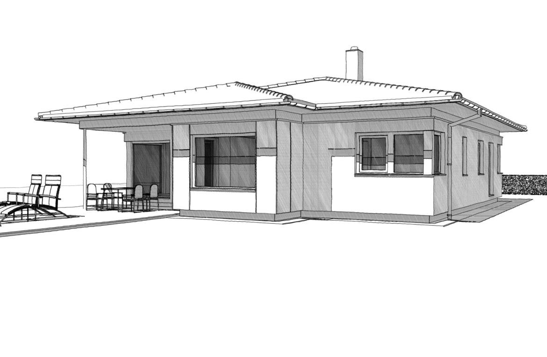 Fertighaus Bungalow mit Walmdach Architektur, 3 Zimmer, 125 qm - Einfamilienhaus ebenerdig bauen Ideen ELK Haus Pläne Bungalow 125 - HausbauDirekt.de