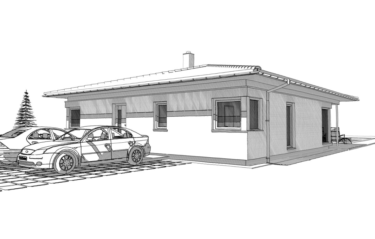 Fertighaus Bungalow mit Walmdach, 3 Zimmer, 125 qm - Einfamilienhaus ebenerdig bauen Ideen ELK Haus Pläne Bungalow 125 - HausbauDirekt.de