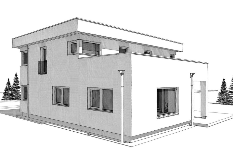 Einfamilienhaus modern mit Flachdach & Dachterrasse bauen - Architektur Zeichnung Haus Design Ideen Fertighaus ELK Haus 186 - HausbauDirekt.de