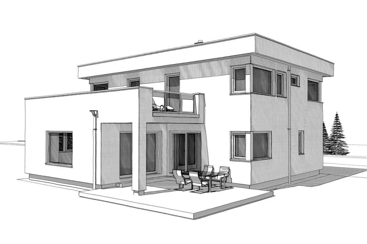 Einfamilienhaus modern mit Flachdach, Erker & Balkon bauen - Architektur Zeichnung Haus Design Ideen Fertighaus ELK Haus 186 - HausbauDirekt.de