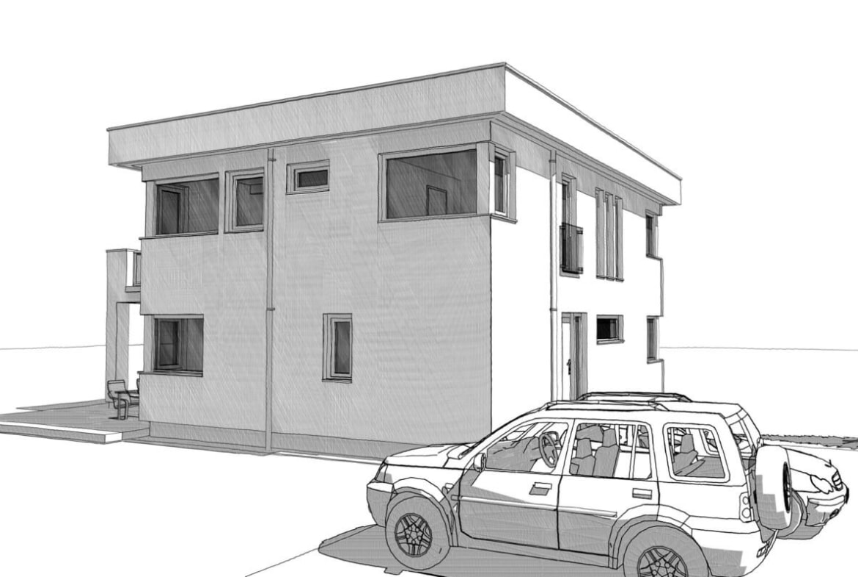 Modernes Einfamilienhaus mit Flachdach im Bauhausstil - Architektur Zeichnung Haus Design Ideen Fertighaus ELK Haus 186 - HausbauDirekt.de