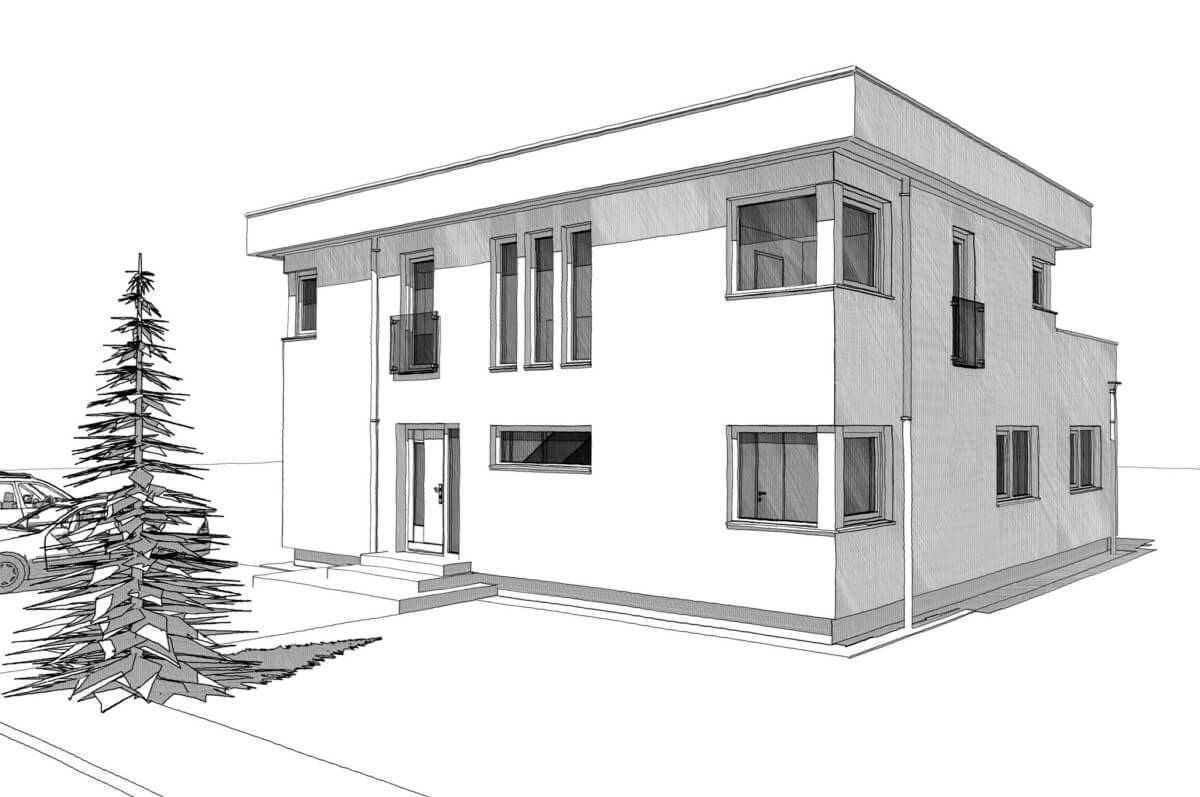 Modernes Haus im Bauhaus Design mit Flachdach bauen - Architektur Zeichnung Einfamilienhaus Ideen Fertighaus ELK Haus 186 - HausbauDirekt.de