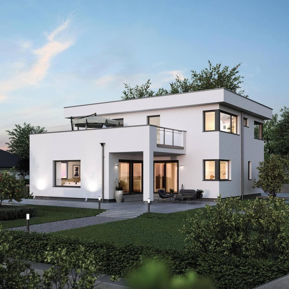 Einfamilienhaus modern mit Flachdach Architektur im Bauhausstil bauen - Haus Design Ideen Fertighaus ELK Haus 186 - HausbauDirekt.de