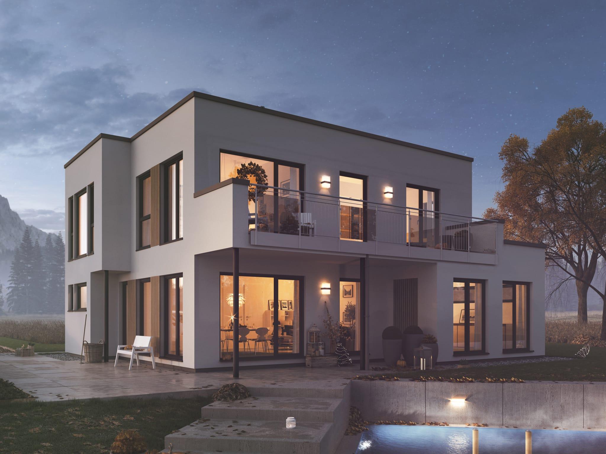 Einfamilienhaus Erker Balkon Flachdach EVOLUTION 152 V2 Herbst Abend Bien Zenker Fertighaus
