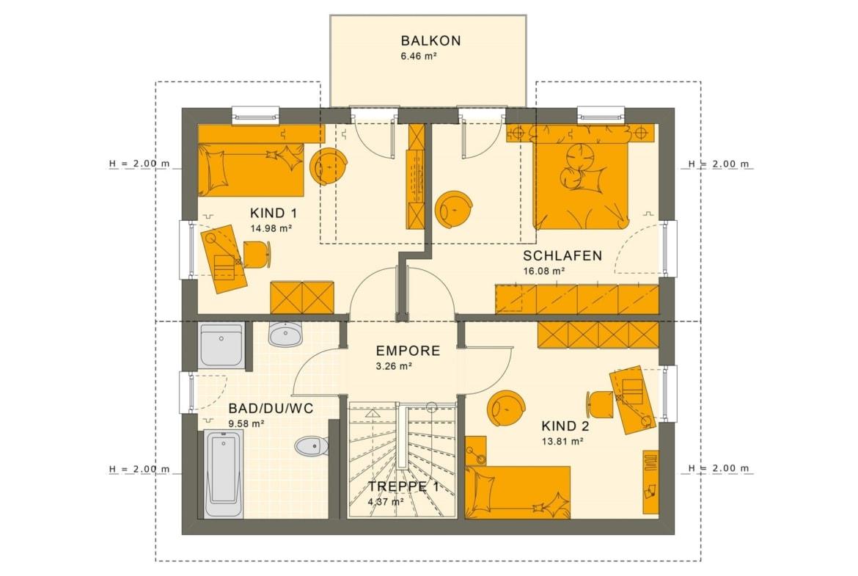 Fertighaus Grundriss Obergeschoss mit Satteldach Architektur, Zwerchgiebel & Balkon - Haus bauen Ideen Einfamilienhaus Living Haus SUNSHINE 125 V4 - HausbauDirekt.de