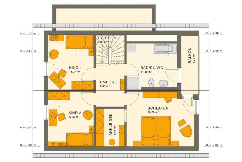 Einfamilienhaus Grundriss Obergeschoss mit Satteldach, 5 Zimmer, 140 qm - Fertighaus Living Haus SUNSHINE 143 V2 - HausbauDirekt.de