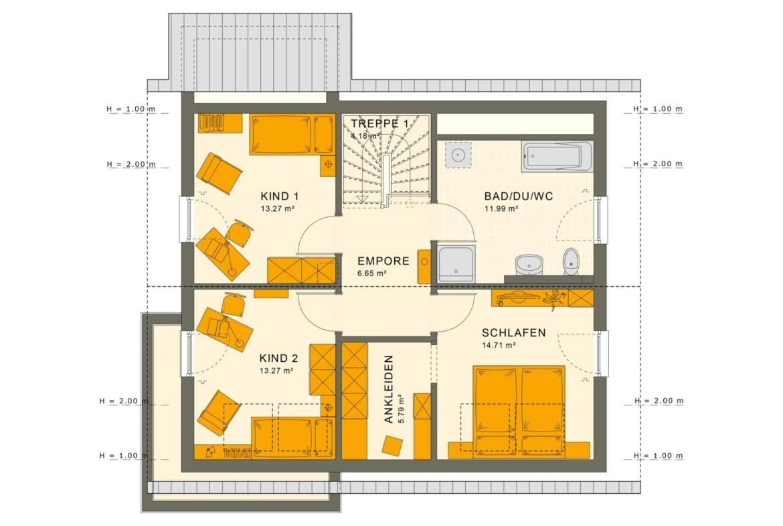 Einfamilienhaus Grundriss Dachgeschoss mit Satteldach - Fertighaus Living Haus SUNSHINE 143 V3 - HausbauDirekt.de