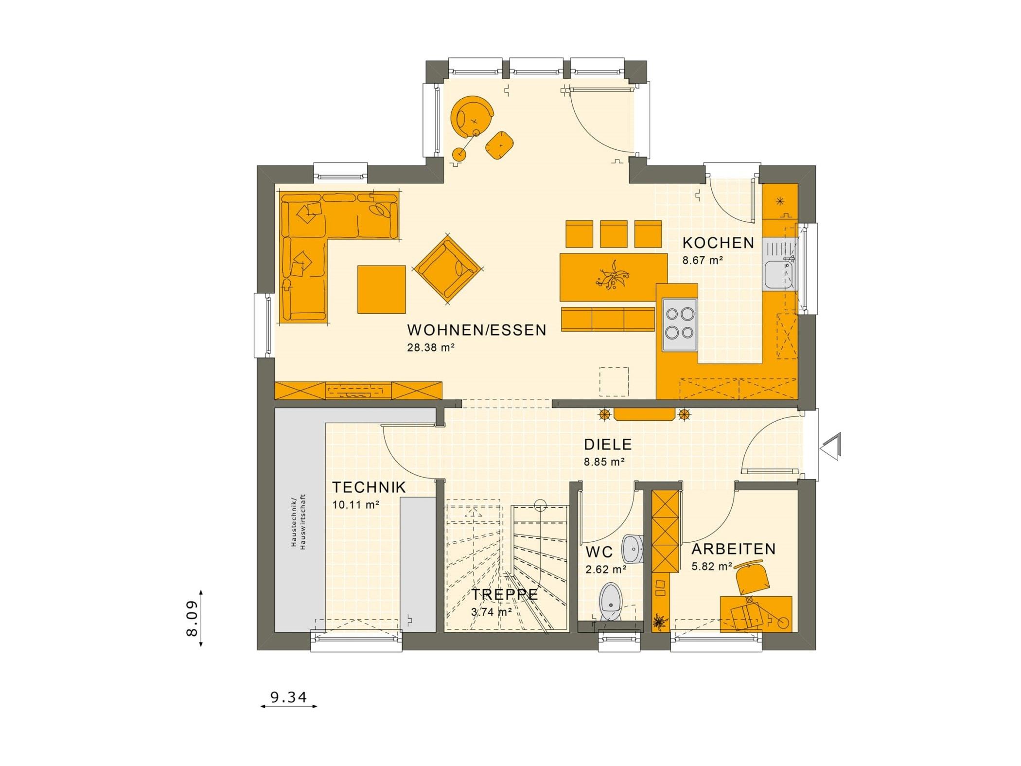 Fertighaus Grundriss Erdgeschoss offen mit Wintergarten Erker - Haus bauen Ideen Einfamilienhaus Living Haus SUNSHINE 125 V4 - HausbauDirekt.de