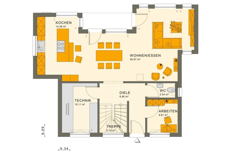 Grundriss Einfamilienhaus Erdgeschoss, 5 Zimmer, 125 qm - Fertighaus Living Haus SUNSHINE 125 V7 - HausbauDirekt.de