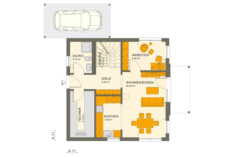 Fertighaus Grundriss Erdgeschoss mit Carport Garage, 5 Zimmer, 125 qm - Einfamilienhaus Neubau Living Haus SUNSHINE 126 V3 - HausbauDirekt.de