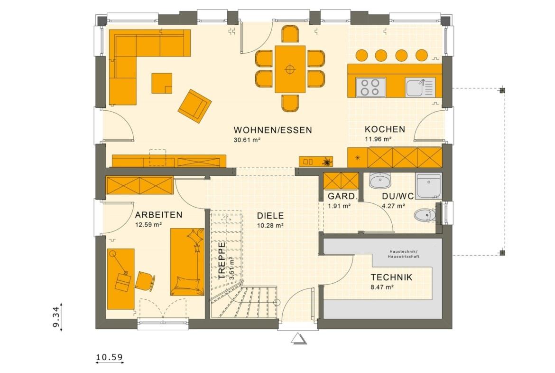 Einfamilienhaus Grundriss Erdgeschoss offen, 5 Zimmer, 165 qm - Fertighaus SUNSHINE 165 V3 von Living Haus - HausbauDirekt.de