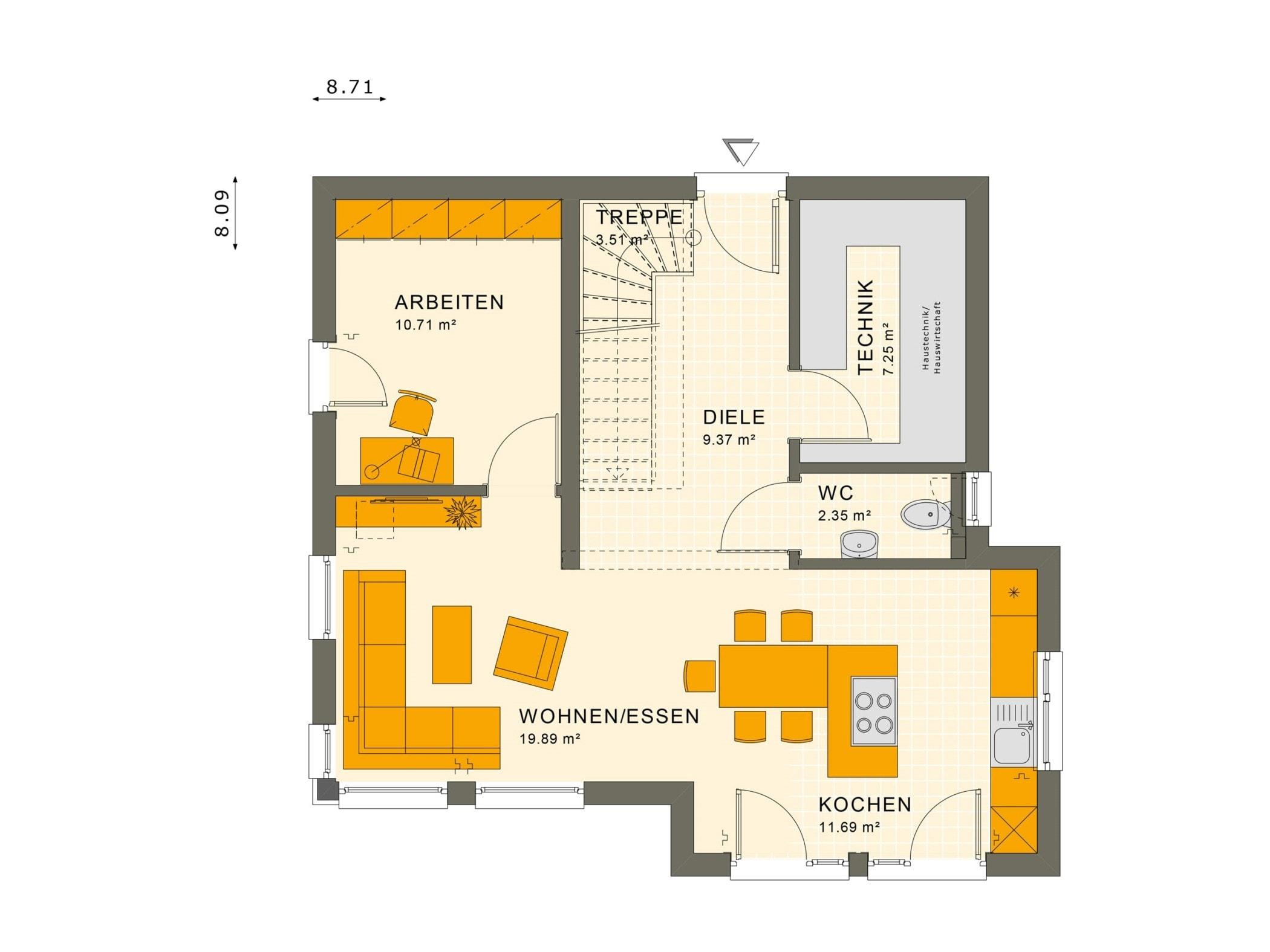Einfamilienhaus Grundriss Erdgeschoss quadratisch mit Erker - Haus bauen Ideen Fertighaus Stadtvilla SUNSHINE 113 V8 von Living Haus - HausbauDirekt.de