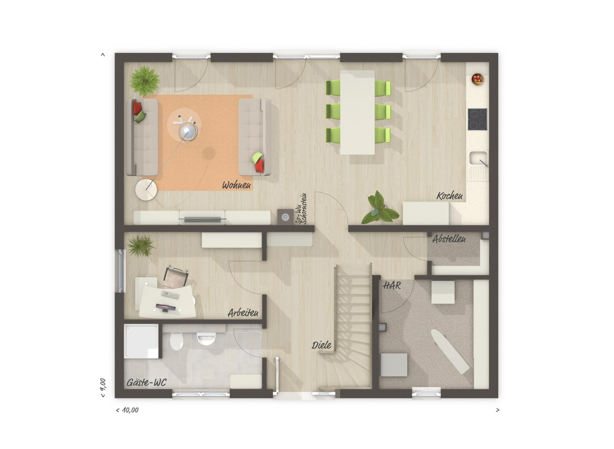 Grundriss Einfamilienhaus Erdgeschoss Küche offen, Arbeitszimmer & Gäste-Bad, 6 Zimmer, 130 qm - Massivhaus bauen Ideen Town Country Haus FLAIR 134 - HausbauDirekt.de