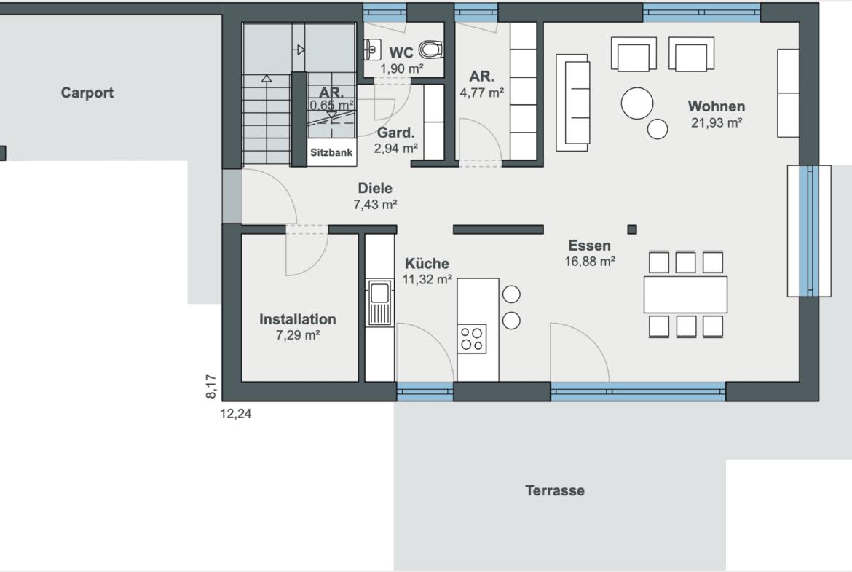 Einfamilienhaus Grundriss Erdgeschoss rechteckig mit Carport, Küche offen - Haus Design Ideen Fertighaus Sunshine 220 WeberHaus - HausbauDirekt.de