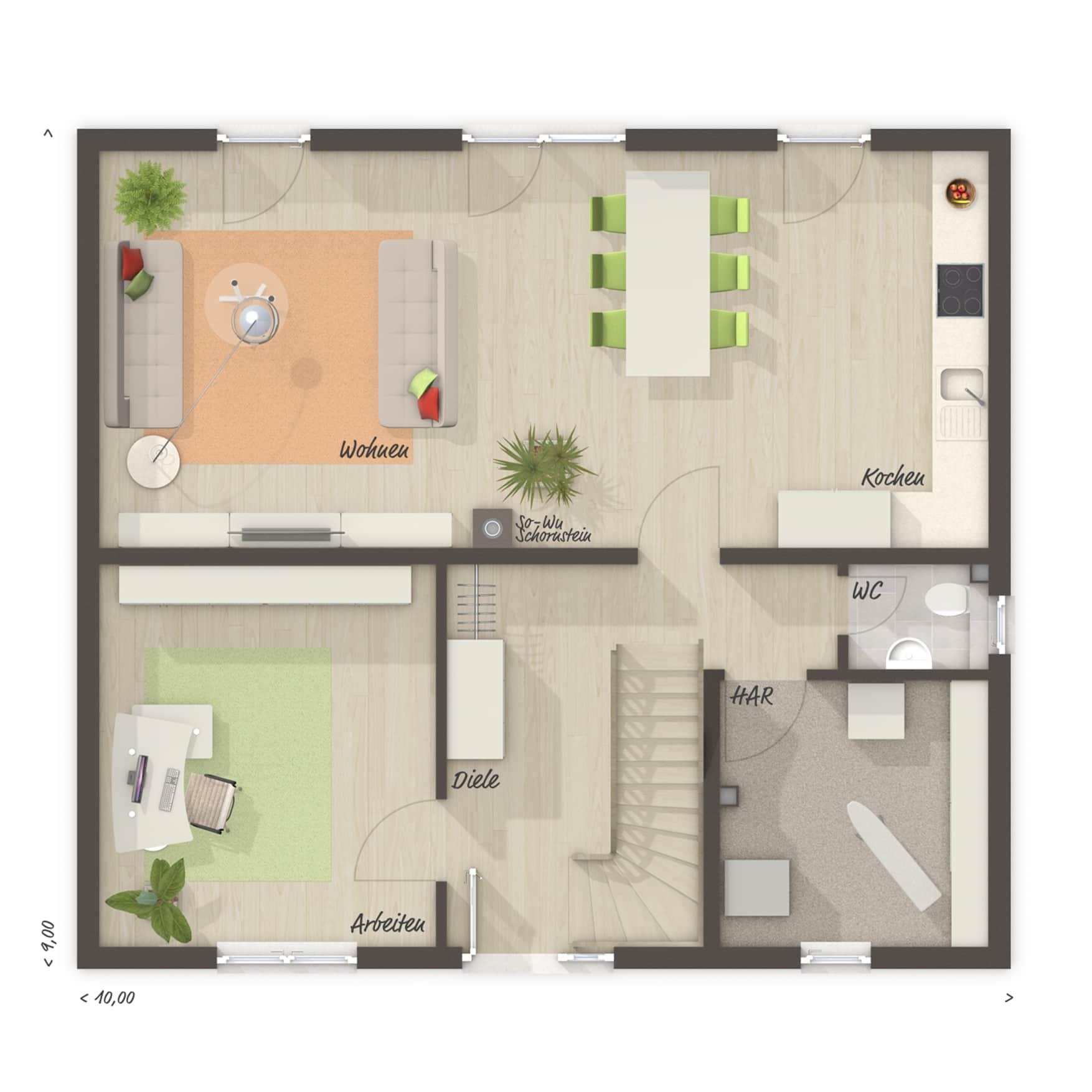 Einfamilienhaus Grundriss Erdgeschoss Küche offen - Massivhaus schlüsselfertig bauen Ideen Town Country Haus Flair 134 - HausbauDirekt.de