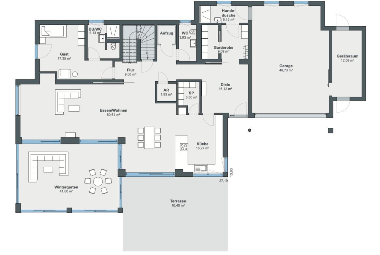Einfamilienhaus Grundriss Erdgeschoss mit Garage - Luxus Haus WeberHaus Fertighaus - HausbauDirekt.de