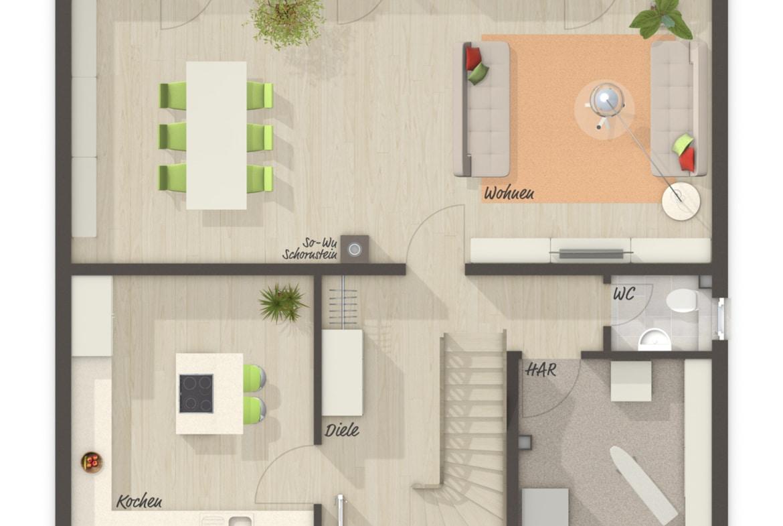 Einfamilienhaus Grundriss Erdgeschoss Küche separat mit Kochinsel - Massivhaus schlüsselfertig bauen Ideen Town Country Haus Flair 134 - HausbauDirekt.de