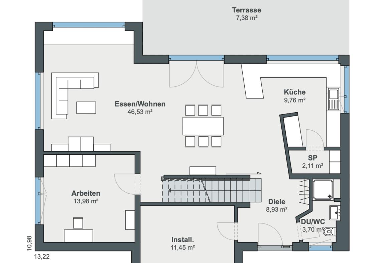 Einfamilienhaus Grundriss Erdgeschoss mit Erker & gerade Treppe - Haus Design Ideen Modernes Landhaus WeberHaus Fertighaus - HausbauDirekt.de