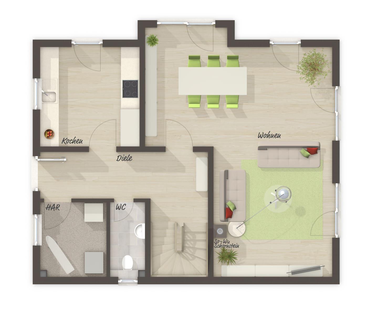 Einfamilienhaus Grundriss Erdgeschoss mit Erker - Massivhaus schlüsselfertig bauen Ideen Town & Country Haus Lichthaus 121 Klinker - HausbauDirekt.de