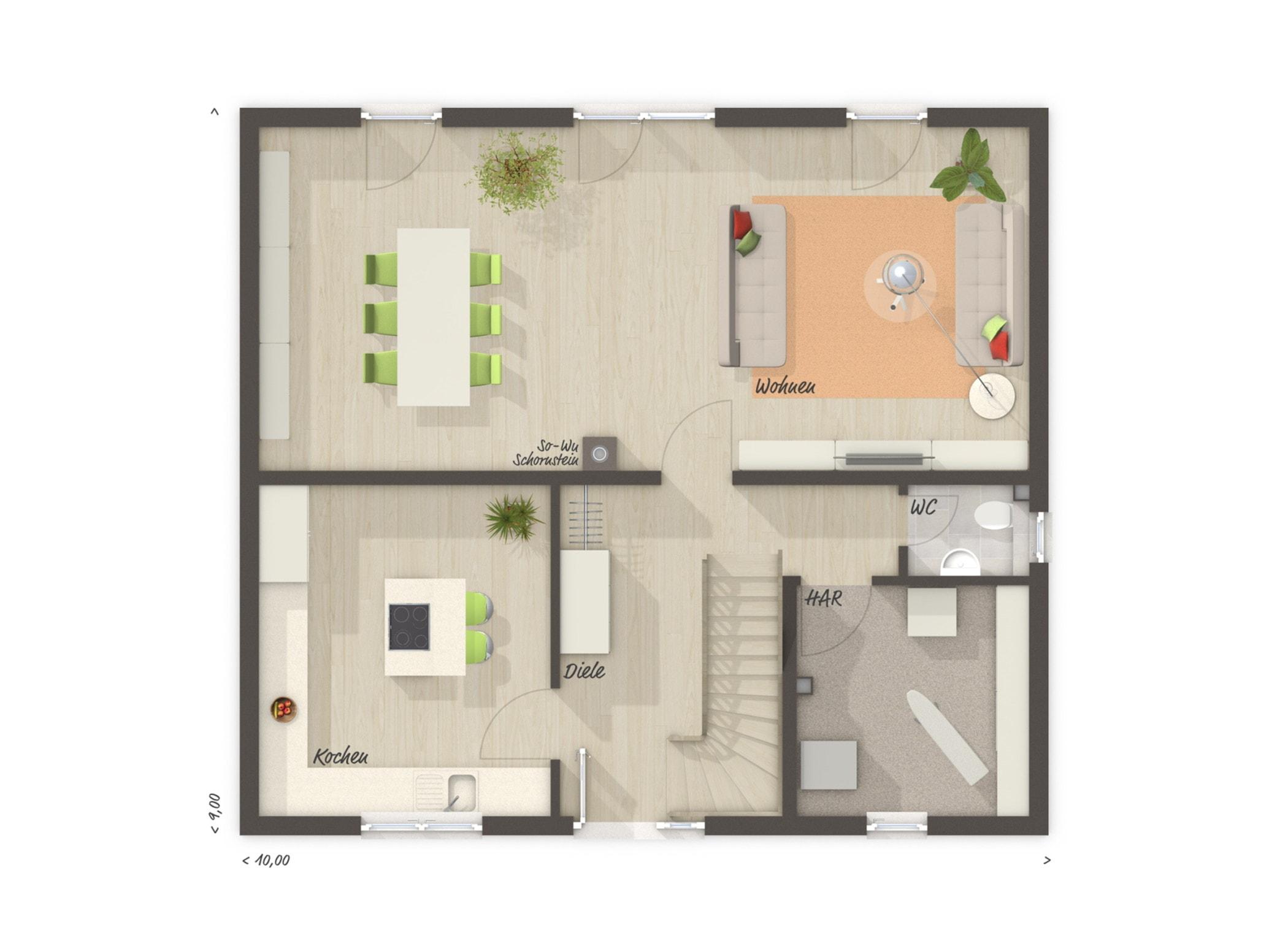 Grundriss Einfamilienhaus Erdgeschoss Küche geschlossen, 6 Zimmer, 130 qm - Massivhaus bauen Ideen Town Country Haus FLAIR 134 - HausbauDirekt.de
