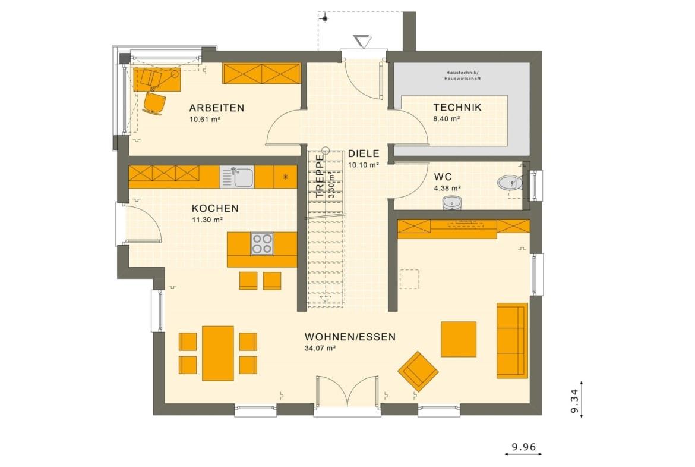 Einfamilienhaus Grundriss Erdgeschoss gerade Treppe mit Galerie, 5 Zimmer, 150 qm - Fertighaus Living Haus SUNSHINE 154 V5 - HausbauDirekt.de