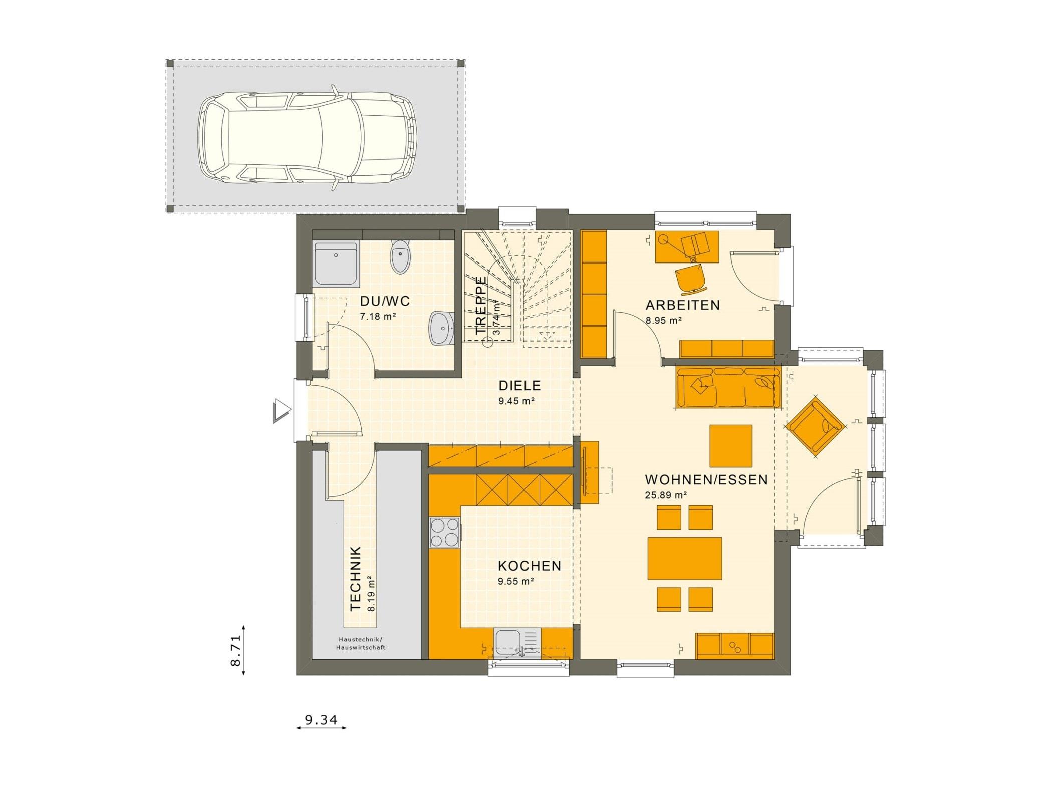 Einfamilienhaus Grundriss Erdgeschoss mit Carport & Wintergarten Erker, 5 Zimmer, 135 qm - Fertighaus Living Haus SUNSHINE 136 V5 - HausbauDirekt.de