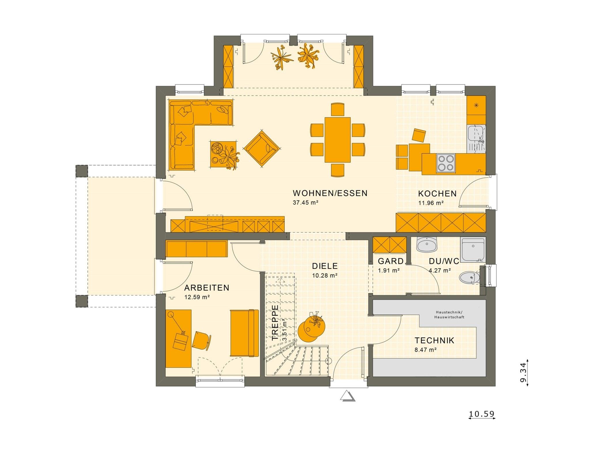 Einfamilienhaus Grundriss Erdgeschoss mit Arbeitszimmer & Erker, 5 Zimmer, 165 qm - Fertighaus SUNSHINE 165 V5 von Living Haus - HausbauDirekt.de