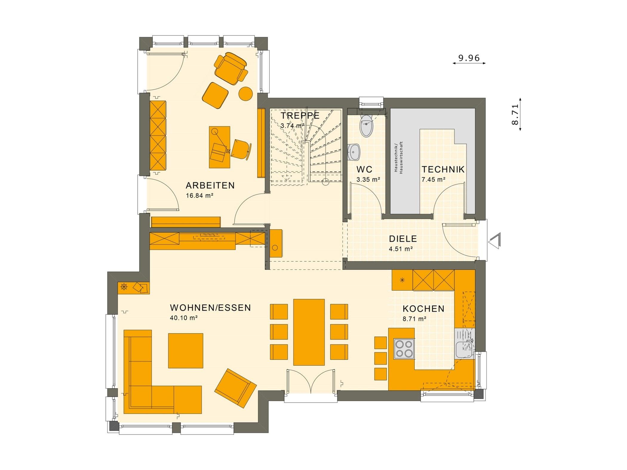 Einfamilienhaus Grundriss Erdgeschoss mit Erker & Arbeitszimmer - Fertighaus Living Haus SUNSHINE 143 V3 - HausbauDirekt.de