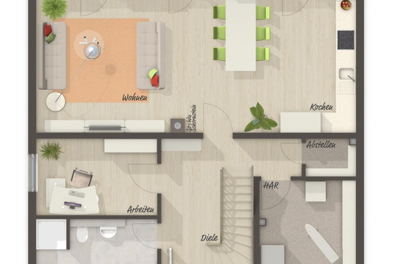 Einfamilienhaus Grundriss Erdgeschoss Küche offen & großes Gäste WC mit Dusche - Massivhaus schlüsselfertig bauen Ideen Town Country Haus Flair 134 - HausbauDirekt.de